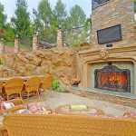 Outdoor Fireplace at Drakes Pool