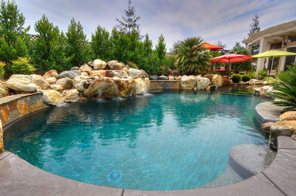 backyard pool luxury with a hot tub premier pools and spas. Black Bedroom Furniture Sets. Home Design Ideas