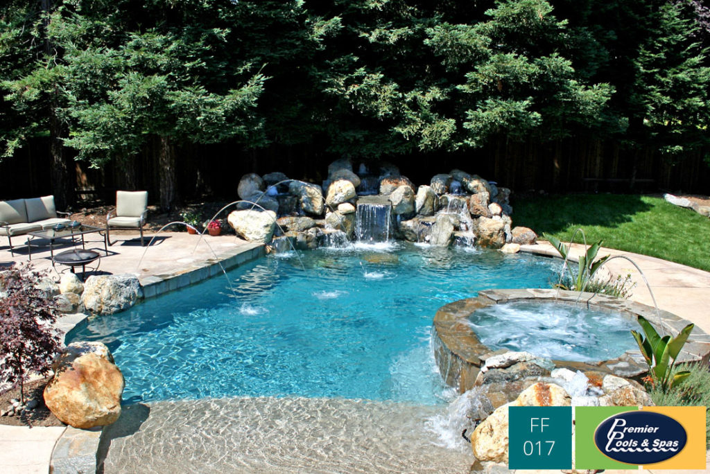 Pool With Waterfall Adding A Waterfall To A Backyard Pool Premier Pools Spas Pool Builders And Contractors