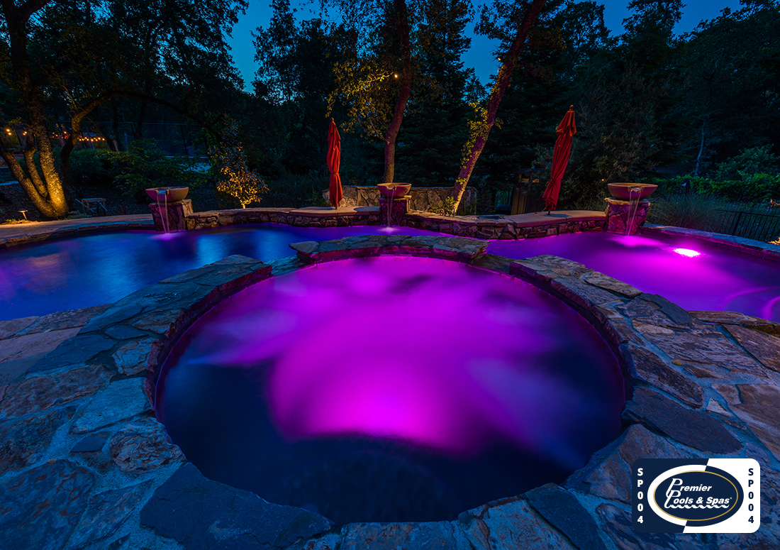 pool and spa-night view